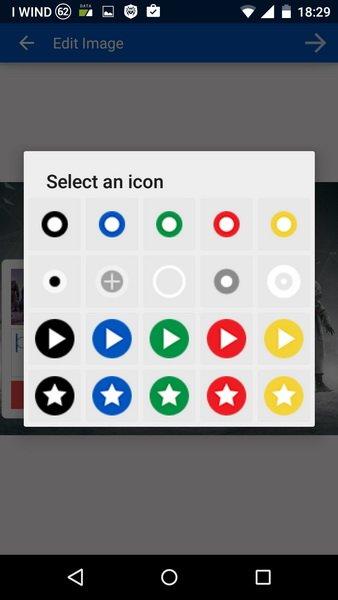 Il catalogo di icone abbinabili agli elementi multimediali
