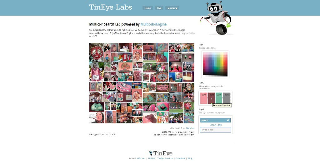 TinEye. Trovare immagini gratuite attraverso i colori ed i tag