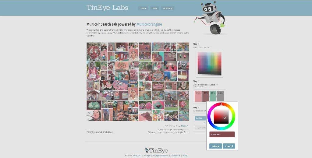 TinEye. Selezionare un colore alternativo.