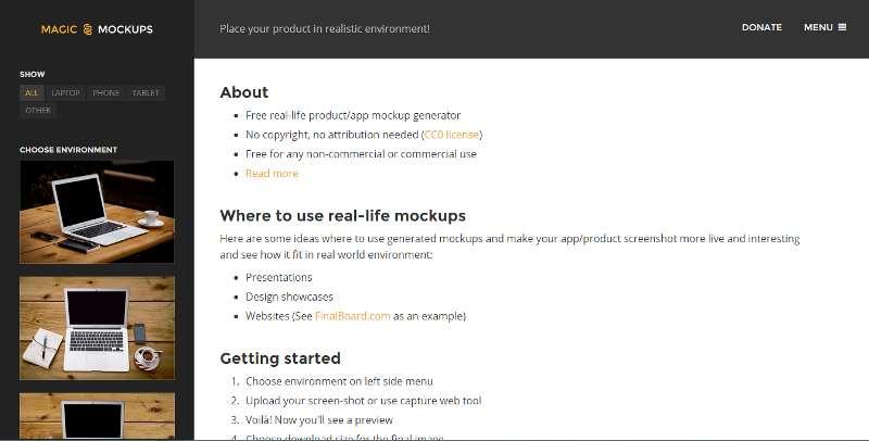 La home page di Magic Mockup
