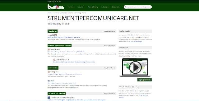 BuiltWith. Analisi di Strumenti per comunicare