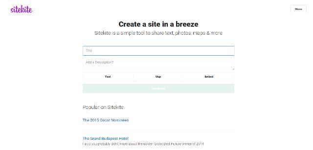 Sitekite, home page