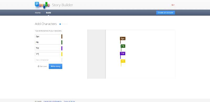 L'editor dei personaggi di Google Story Builder