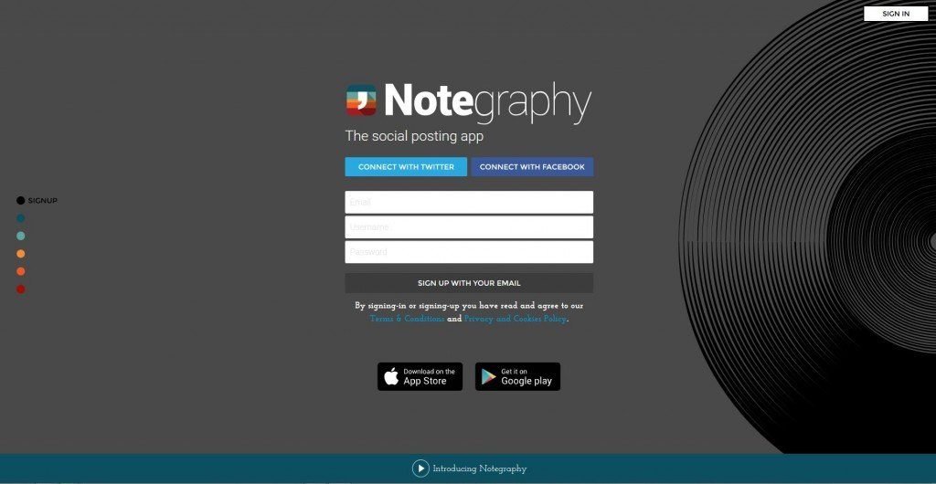 L'home page di Notegraphy