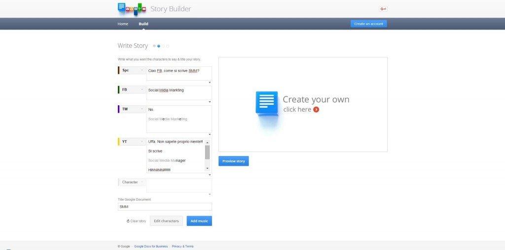 Google Story Builder. Personalizzazione del racconto.