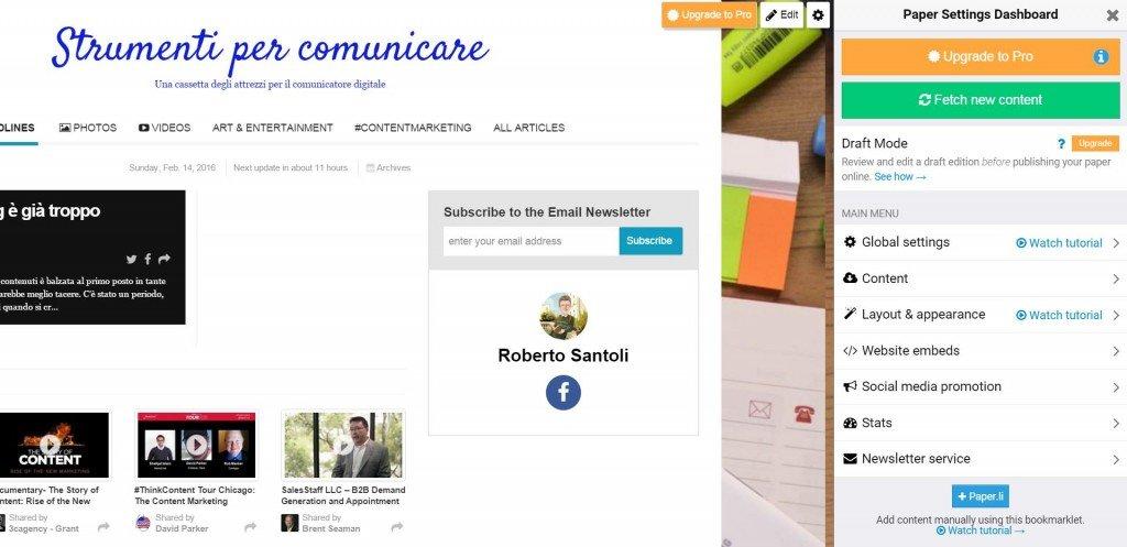 Il bookmarklet di Paper.li utile per creare il giornale online