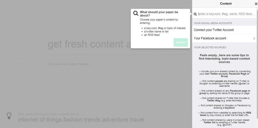 La sidebar che ci apparirà per la ricerca manuale di contenuti