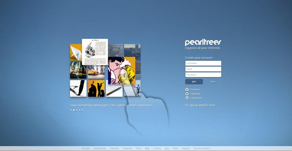 L'home page di Pearltrees