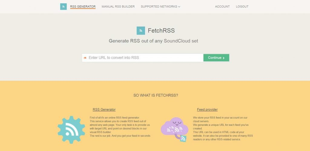 L'home page di FetchRss