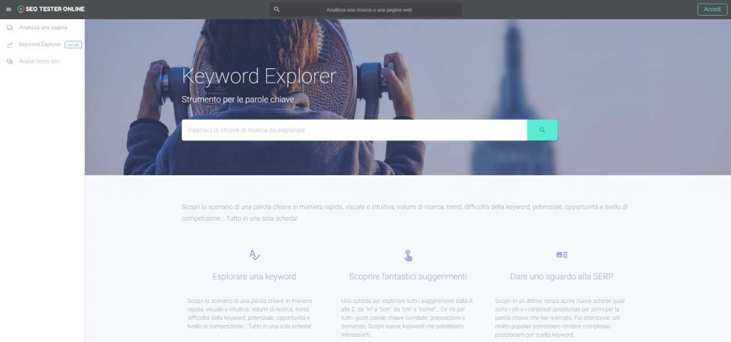 Keyword Explorer. Home page