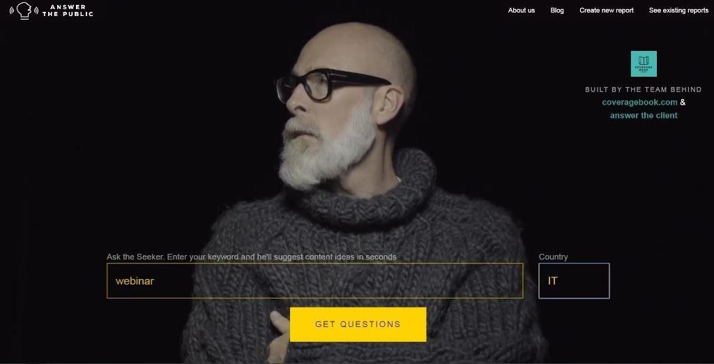 L'home page di Answer The Public con le intenzioni di ricerca