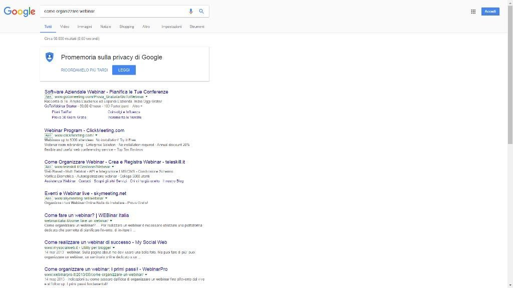 """I risultati di ricerca su Google della query """"come organizzare webinar"""""""