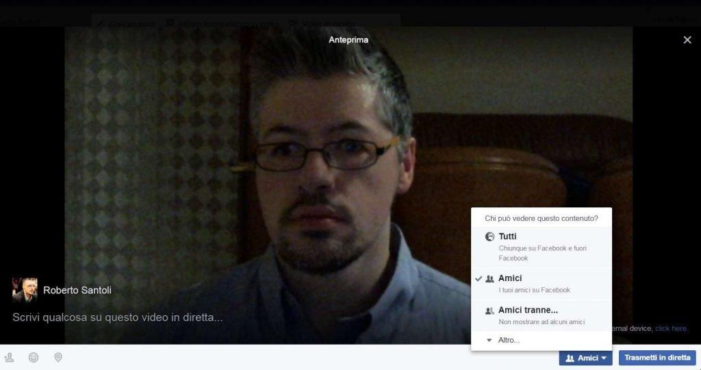 Il box con la webcam e le opzioni che possiamo personalizzare prima di far partire la diretta