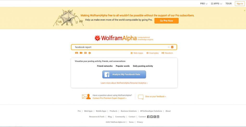 Facebook Report accessibile dopo registrazione di un account gratuito sul sito Wolfram