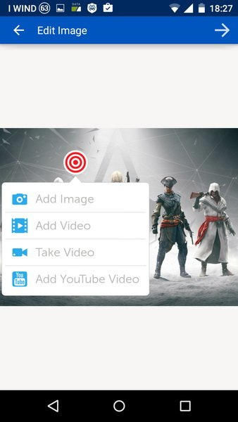 Selezione dei media da inserire in Thinglink per Android