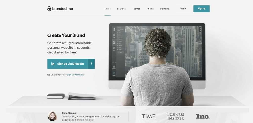 Branded.me. Home page.