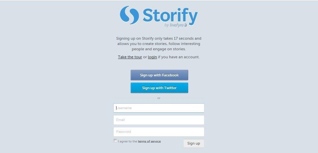 Iscrizione e login a Storify