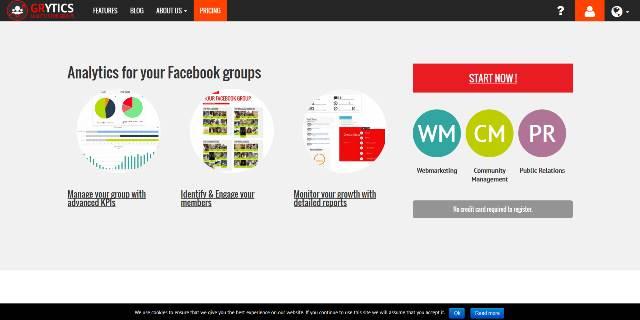 La home page di Grytics