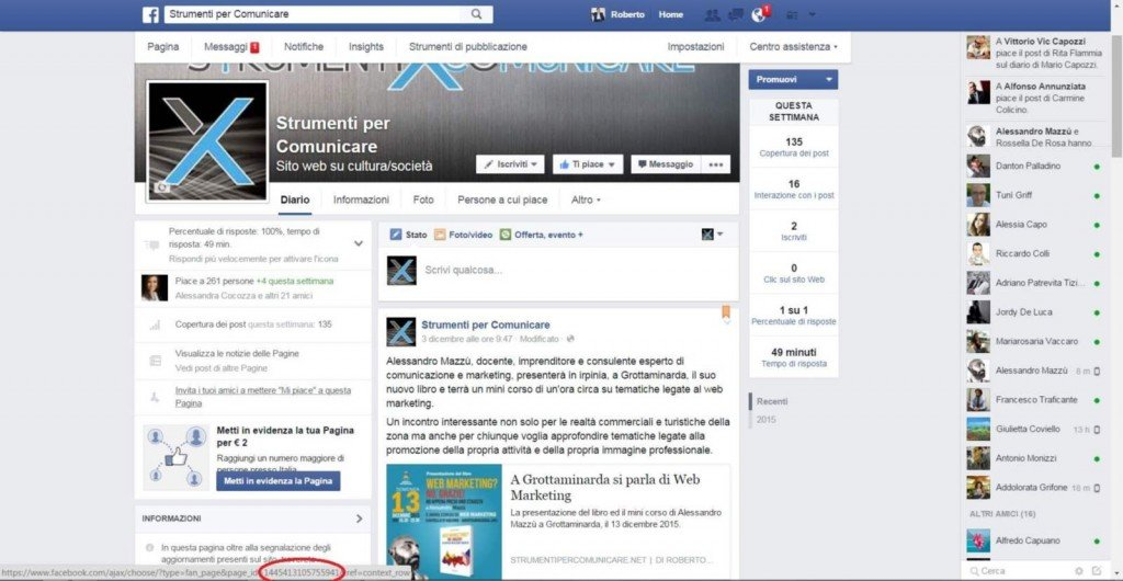 L'ID della pagina Facebook da copiare nel web tool