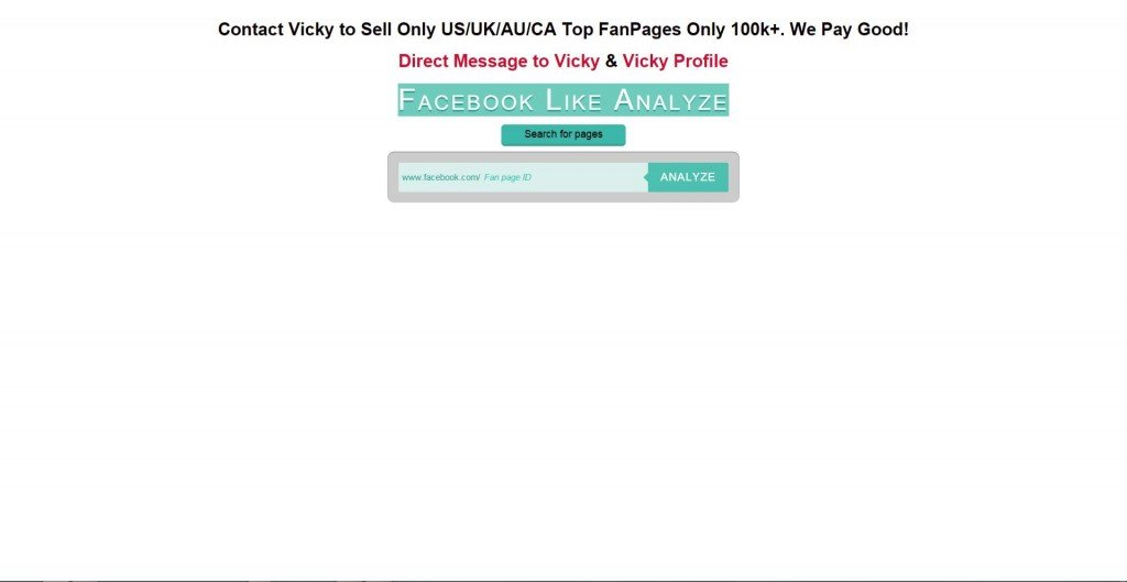 Facebook Like Analyze . Home page