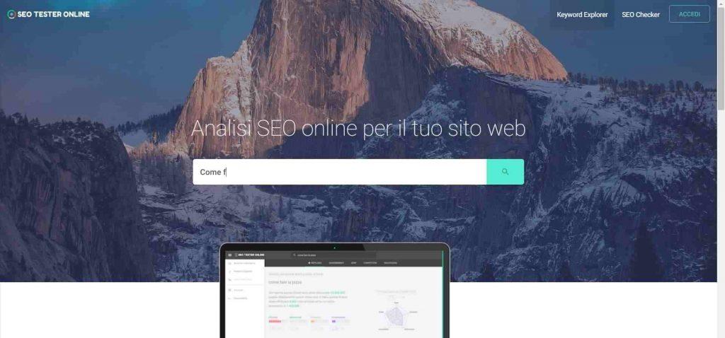 La nuova home page di Seo Tester Online