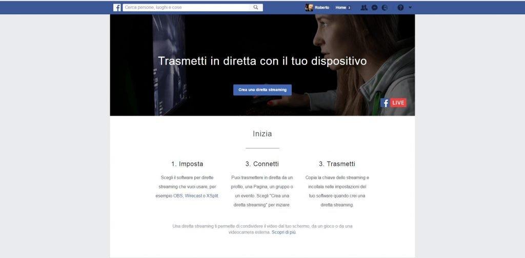 La Pagina di Facebook dove poter configurare una diretta con software esterni come OBS Studio