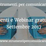 Eventi e webinar gratuiti. Settembre 2017
